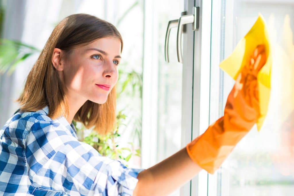 A House cleaner cleaning a glass door